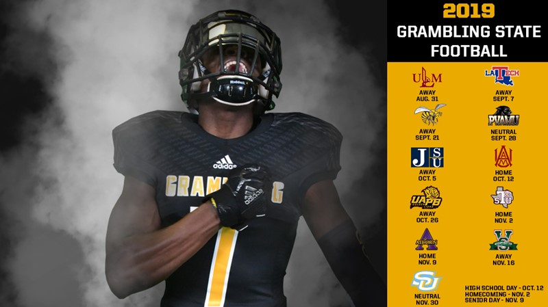 release date 4018b 45f81 Grambling State Announces 2019 Football Schedule - Grambling ...